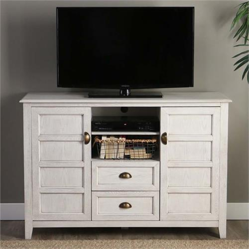View a large image of the Walker Edison Angelo:Home Rustic Chic 55 inch TV Cabinet White Wash AH52CRCWW here.