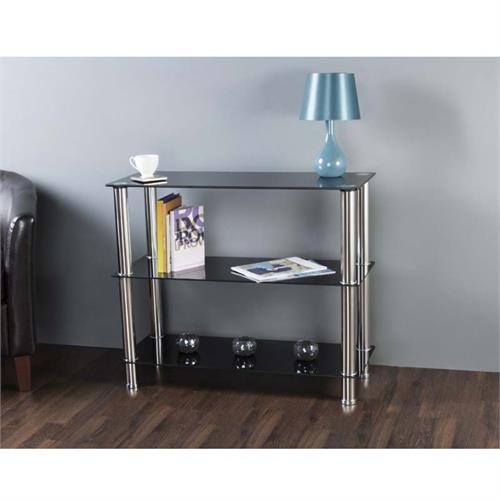 View a large image of the AVF Black Glass 3 Tier Shelving Unit Chrome S13-A here.