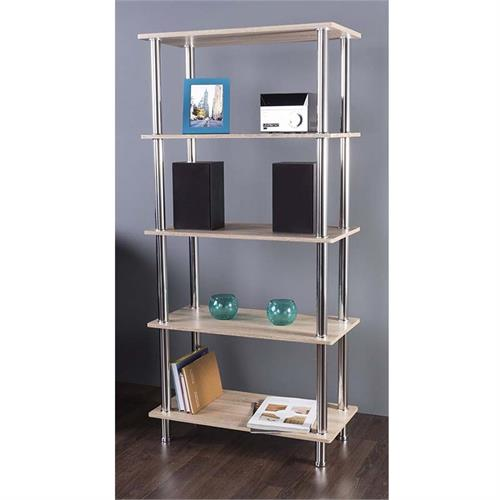 View a large image of the AVF Whitewashed Oak 5 Tier Shelving Unit Chrome S25OW-A here.