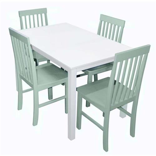 View a larger image of the Walker Edison Greyson 5 Piece Wood Dining Set (White and Sage) TW485PCSG.