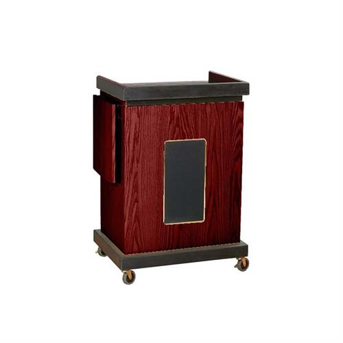 View a large image of the Oklahoma Sound Smart Cart Lectern with Sound (Mahogany) SCL-S here.