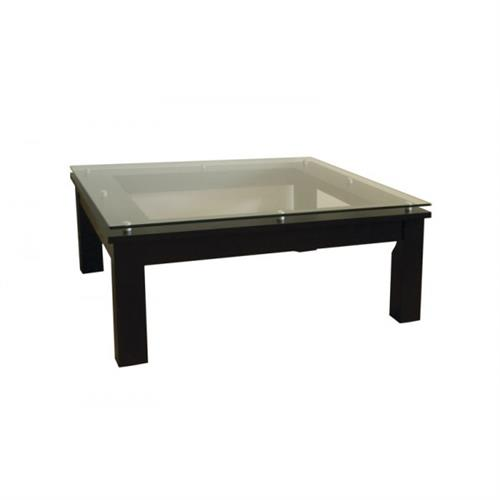 View a large image of the Plateau Square Glass Coffee Table Black Frame Clear Glass SL-TCS 35 x 35 B here.
