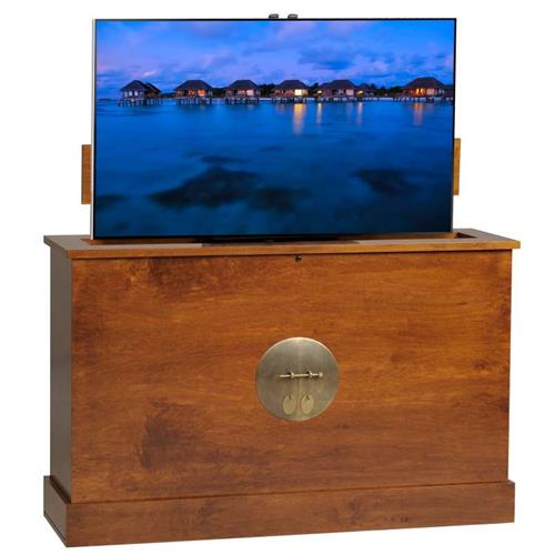 View a large image of the TV Lift Cabinet Sunrise 360 Swivel TV Lift Michaels Brown AT006791MICH here.