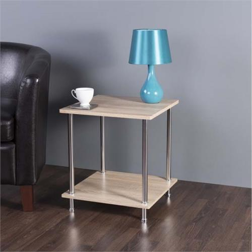 View a large image of the AVF Whitewashed Oak 2 Tier Square Side Table Chrome T52OW-A here.
