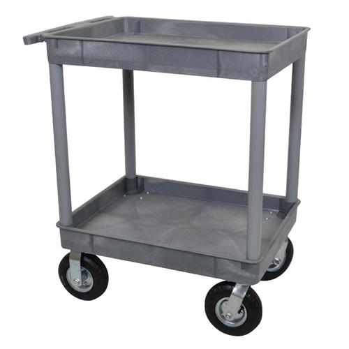 View a large image of the Luxor 2 Shelf TC Pneumatic Caster Cart Gray TC11P8-G here.