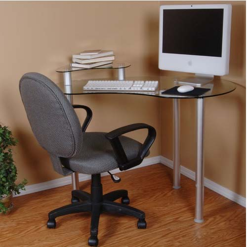 View a large image of the Tier One Clear Glass Corner Computer Desk with Monitor Stand Silver T1D-122 here.