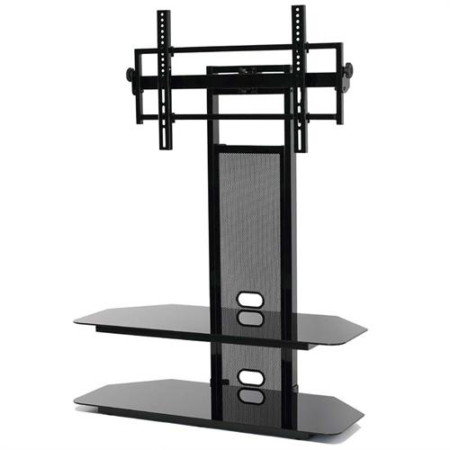 View a large image of the TransDeco Black Glass TV Stand with Integrated Flat Panel Mount for 32-60 inch Screens Black TD560BCH here.