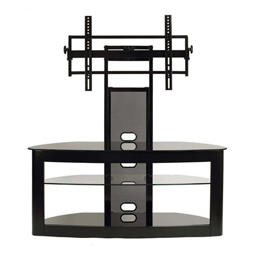 View a large image of the TransDeco Glass TV Stand with Mounting System for 35-65 inch Screens Black TD600B here.