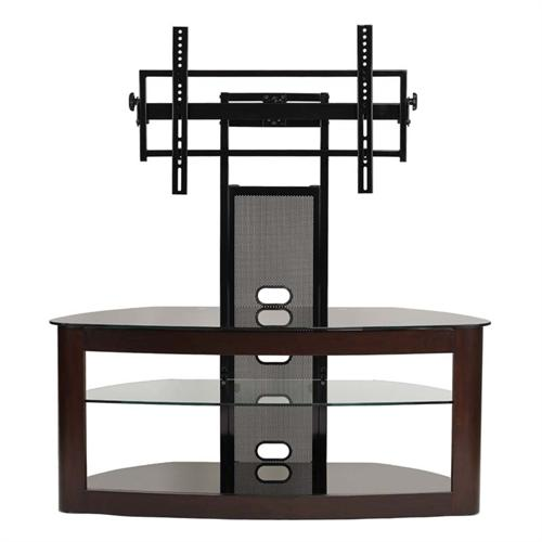 View a large image of the TransDeco Glass TV Stand with Mounting System for 35-65 inch Screens Espresso TD600ES here.