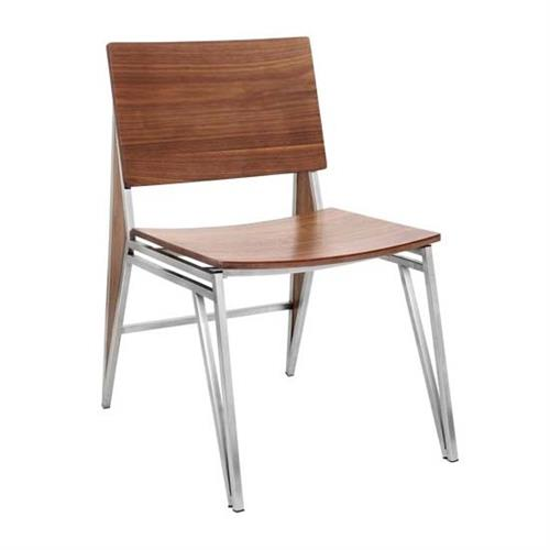 View a large image of the LumiSource Pair of Tetra Dining Chairs Walnut CHR-TETRA-A2 WL here.