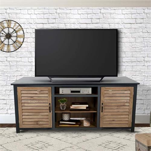 View a large image of the Living Essentials Timber 80 in. TV Console (Black and Maple) CFWGM0473 here.