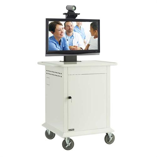 View a large image of the AVTEQ 16RU Telemedicine Mobile Medical Cart for 25-42 inch Single or Dual Screens TMP-600 here.