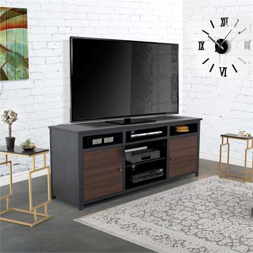 View a large image of the Living Essentials Torrance 80 in. TV Console (Black and Brown) CFWBB0173 here.