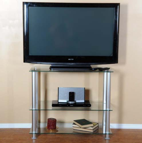 "View a larger image of the RTA Extra Tall Clear Glass and Aluminum 42"" TV Stand TVM-002."