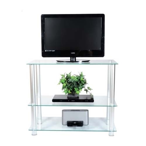 View a large image of the RTA Extra Tall Clear Glass and Aluminum 42 inch TV Stand TVM-0042 here.