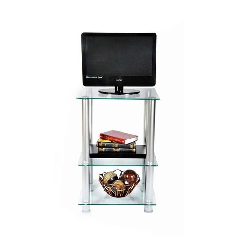 View a large image of the RTA Extra Tall Clear Glass and Aluminum 27 inch TV Stand TVM-005 here.