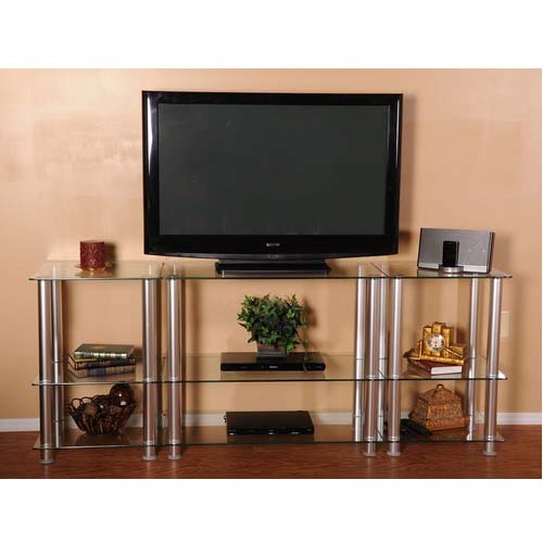 View a large image of the RTA Extra Tall Clear Glass and Aluminum LCD and Plasma TV Stand TVM-0075 here.