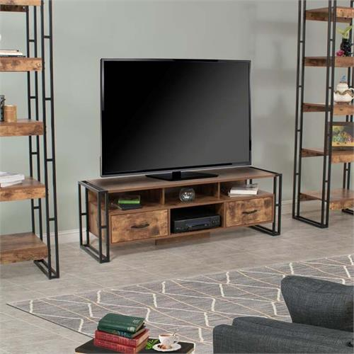 View a large image of the Living Essentials Urban Line 60 in. TV Console Rustic Wood ULWRW0871 here.