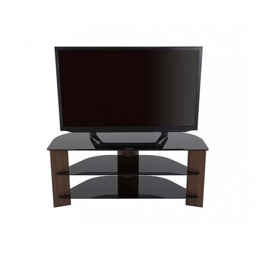 View a large image of the AVF Varano Black Glass 55 in. Corner TV Stand Walnut FS1100VARWB-A here.