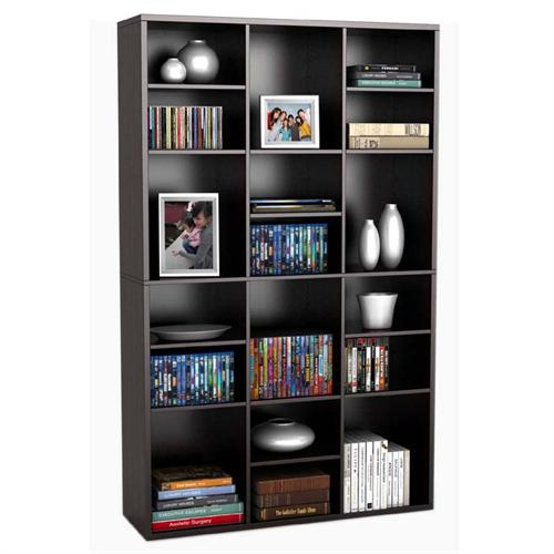 View a large image of the Atlantic Versa 18 Compartment Media Storage Wall Unit Espresso 38435833 here.