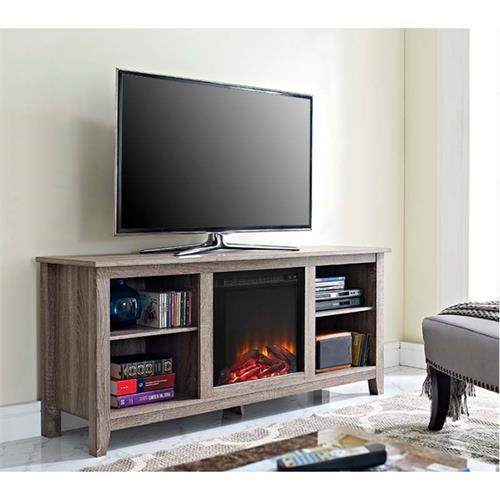 View a large image of the Walker Edison Driftwood 60 inch TV Stand with Fireplace Insert Ash Grey W58FP18AG here.