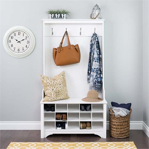 View a large image of the Prepac Entryway Hall Tree with Shoe Storage and Bench White WSOG-0011-1-1 here.