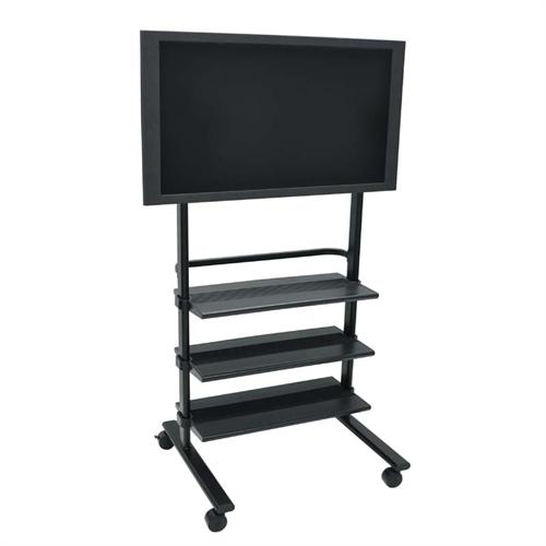 View a large image of the H. Wilson Mobile 32 to 60 in. Flat Panel TV Stand with Three Shelves Black WFP100-B here.
