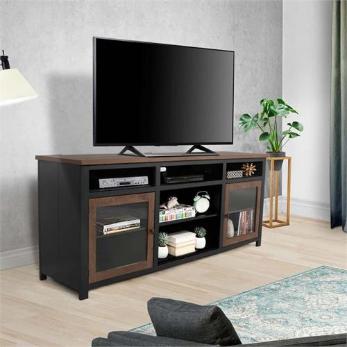 View a large image of the Living Essentials Wyoming 65 in. TV Console (Black and Oak) CFWMO0973 here.
