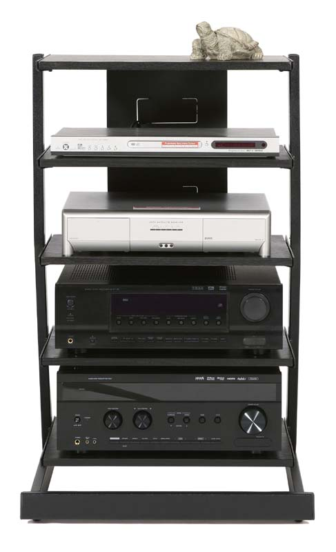 View a large image of the Plateau Z Series 5-Shelf Modern Audio Rack Black Z-5A B here.