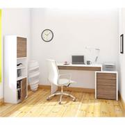 View a larger image of Nexera Liber-T Home Office Set (3 Piece, White and Walnut) 400459 here.