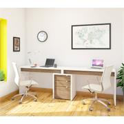 View a larger image of Nexera Liber-T Home Office Set (3 Piece, White and Walnut) 400610 here.