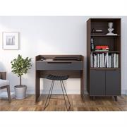 View a larger image of Nexera Alibi Home Office Set (2 Piece, Walnut and Charcoal) 400879 here.