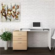 View a larger image of Nexera Essentials Home Office Set (3 Dwr, Nat Maple and White) 400929 here.