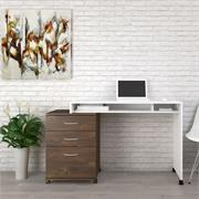 View a larger image of Nexera Essentials Home Office Set (3-Drawer, White and Truffle) 400933 here.