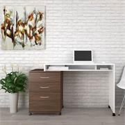 View a larger image of Nexera Essentials Home Office Set (3-Drawer, White and Walnut) 400935 here.