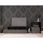 View a larger image of Nexera Damask Entertainment Set (2 Piece, Bark Grey and Black) 400978 here.