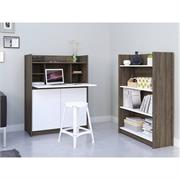 View a larger image of Nexera Chrono Home Office Set (2 Piece, Bark Grey and White) 402171 here.