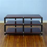View a larger image of the VTI BL Series 44 in. AV Rack TV Stand (Silver Caps & Black Poles, Cherry Shelves) BL503SC here.