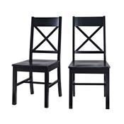 View a larger image of the Walker Edison Millwright Two Solid Wood Dining Chairs Black CHW2BL.