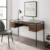 View a larger image of the Walker Edison 56 in. 2 Drawer Glass Top Desk (Dark Walnut) D56FUL2DGTDW