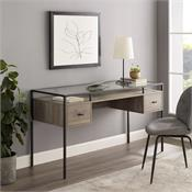 View a larger image of the Walker Edison 56 in. 2 Drawer Glass Top Desk (Grey Wash) D56FUL2DGTGW