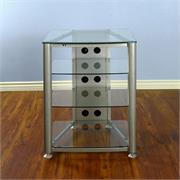 View a larger image of the VTI RGR Series 4 Shelf AV Rack (Silver Frame, Clear Glass) RGR404S here.