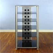 RGR406 with Silver Frame and Black Glass Shelves