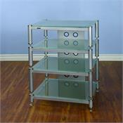 View a large image of the VTI AV Rack Silver Caps Silver Poles & Frosted Glass BLG404SSF-13 here.