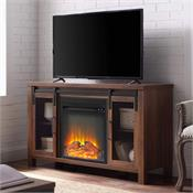 View a larger image of the Walker Edison 48 in. Rustic Farmhouse Fireplace TV Stand (Dark Walnut) W48FPSMDDW here.