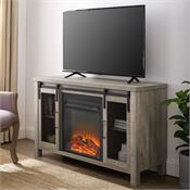 View a larger image of the Walker Edison 48 in. Rustic Farmhouse Fireplace TV Stand  (Grey Wash) W48FPSMDGW here.