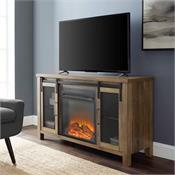 View a larger image of the Walker Edison 48 in. Rustic Farmhouse Fireplace TV Stand  (Rustic Oak) W48FPSMDRO here.
