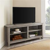 View a larger image of the Walker Edison 58 in. Transitional Wood Corner TV Stand (Grey Wash) W58CCRGW here.