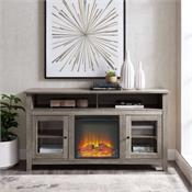 View a larger image of the Walker Edison 58 in. Transitional Fireplace Glass Wood TV Stand (Grey Wash) W58FP18HBGW here.