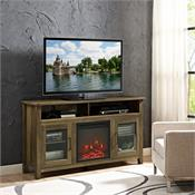 View a larger image of the Walker Edison 58 in. Transitional Fireplace Glass Wood TV Stand (Rustic Oak) W58FP18HBRO here.